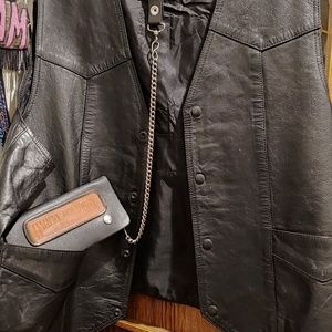 Leather vest and wallet